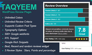 Taqyeem - premium WordPress Review Plugin